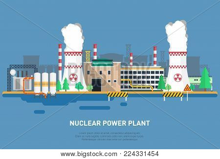 Nuclear power plant in a flat style. Cooler, power unit, office building and other elements of the power plant. Vector illustration