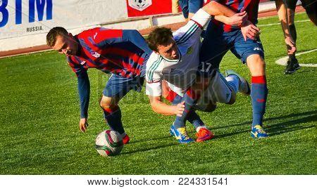 BATAYSK. RUSSIA. Football stadium. 2 October 2016 Soccer match teams of Maikop and Rostov-on-Don. October 2, 2016.
