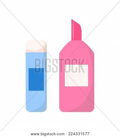 Adhesive in stick and in plastic container vector illustration isolated on white. Glue substance used for sticking objects or materials together