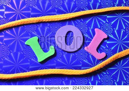 word lol on an  abstract colored background