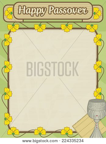 Happy Passover decorative blank sign with flowers and Passover symbols. Eps10