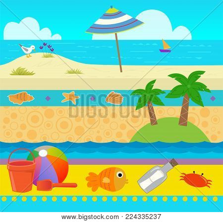 Cute coastal pattern with beach and ocean elements. Eps10