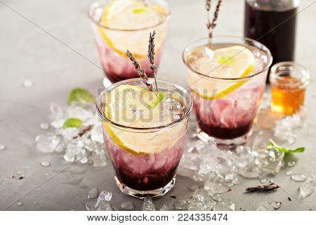 Lavender syrup lemonade with fresh lemons and honey