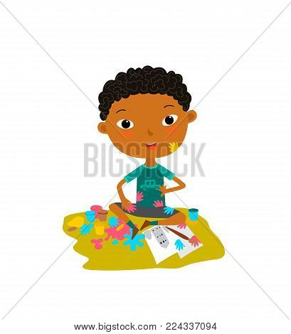 Illustration of a boy painting on a white background. Boy dirty paint. Colorful illustration in flat style
