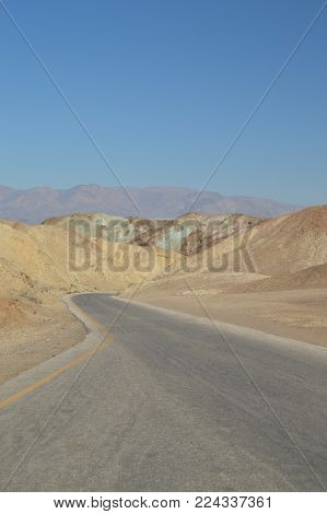 Road To View Artist's Palette. The Lowest Place Below The Sea Level. Gigantic Salt Lagoons. Travel holydays Geology. June 28, 2018. Death Valley California. EEUU. USA.