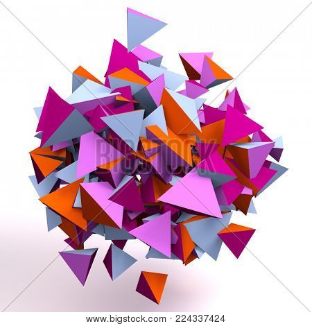 Colorful floating 3d tetrahedrons, wallpaper illustration