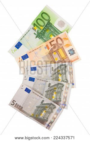 Different Euro banknotes from 5 to 100 Euro. Isolated on white background.