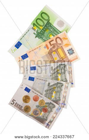 European currency coins and bills. Isolated on white background