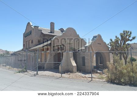 Rhyolite Abandoned Village After The Gold Rush Very Close To Death Valley. Travel holydays Geology. June 28, 2018. Death Valley California. EEUU. USA.