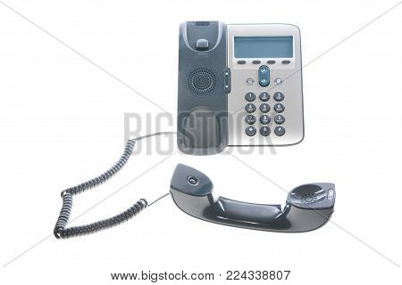 Office phone - IP phone - isolated on a white background.