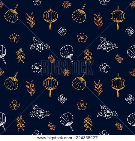Asian pattern. Kabuki. Japanese doodles. Kabuki theatre elements. Kimono. Asia culture symbols. Oriental ornament. Chinese sketch. Fashion. China. Japan. Singapore. Korea. Vietnam. Fabric design.