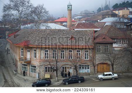 SHEKI, AZERBAIJAN - JANUARY 01, 2018: It's a gloomy January day in Sheki