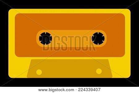 Yellow, gold, antique, old, vintage, retro, hipster, musical audio cassette from the 80's, 90's on a black background. Vector illustration.