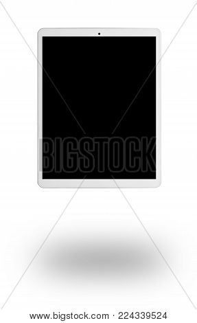 Modern white tablet pc with shadow. isolated on white