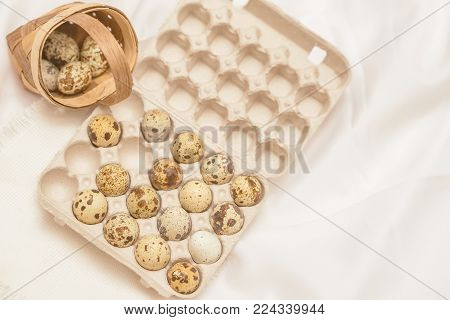 Several Quail eggs in carton package and in wicker basket, rustic napkin. Flat lay, top view. Concept for Easter, spring, organic food, dieting. Toned background