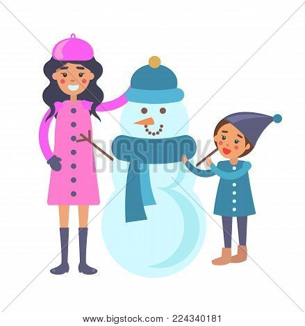 Mother and child making snowman vector illustration isolated on white. Mom and son near funny winter creature made of snow in blue scarf and hat