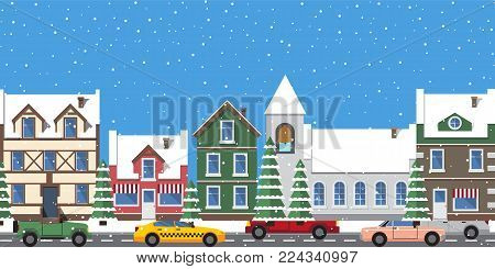 Cityscape horizontal poster, buildings with entrances and window, tower with bell, cars on roads, and pine tree with snow, vector illustration