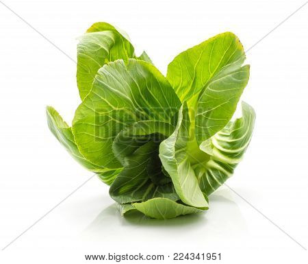 Bok choy (Pak choi) one cabbage with green flowerlike leaves isolated on white background fresh raw