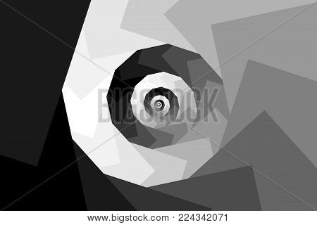 Spiral of rotating squares - gray background, Spiral from squares - black and white pattern