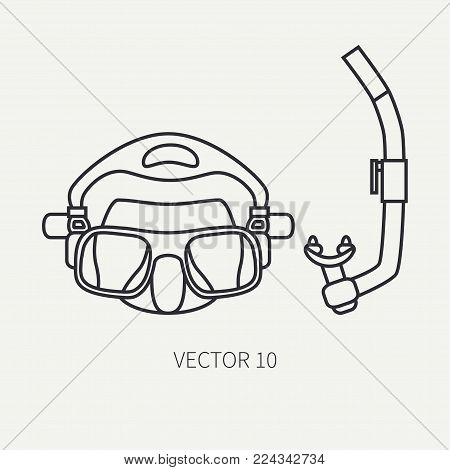 Line flat plain vector diver underwater equipment icon diver mask and snorkel. Retro style. Ocean deep, sea beach. Summer adventure vacation. Scuba aqualung. Illustration element for design, wallpaper