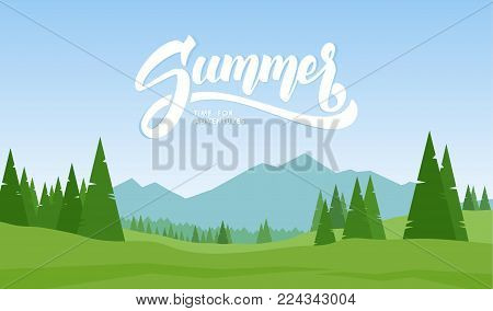 Vector illustration. Mountains landscape with hand lettering of Summer and pines on foreground.