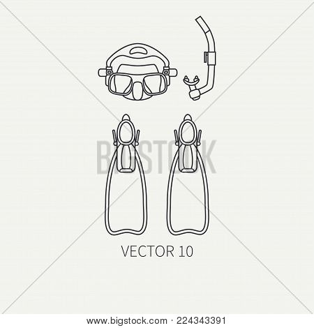 Line flat plain vector diver underwater equipment icon diver mask, snorkel, flippers. Retro style. Ocean deep, sea beach. Summer adventure. Scuba aqualung. Illustration element for design, wallpaper.