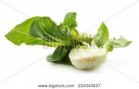 Bok choy (Pak choi) one fresh cut half isolated on white background