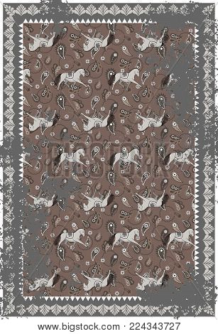 Horse and paisley grey brown vector carpet design. Persian style vintage rug decor with rough texture.
