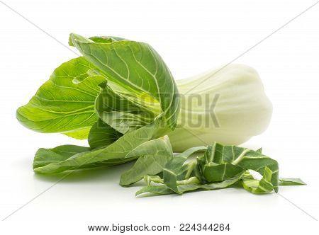 Bok choy (Pak choi) one cabbage with fresh chopped leaves isolated on white background