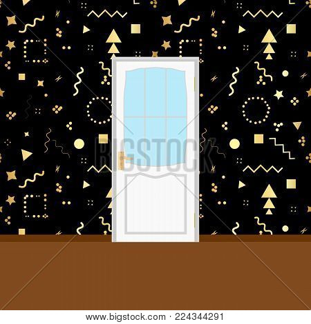 Vector Interior apartment wooden door isolated on white
