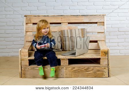 Child With Laptop And Mobile Phone, Education. Small Boy Blogging On Bench, Online Buy. School And C