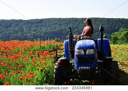 Rich Harvest, Spring Season, Industrial Transport. Narcotics And Drug. Farming, New Technology, Agri