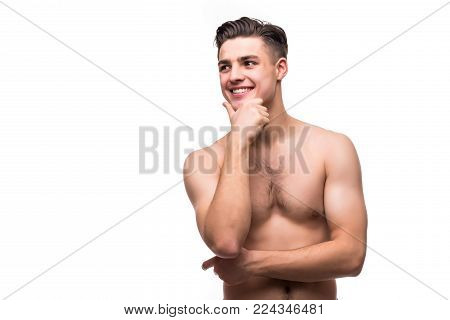 Portrait Of Perfect Stubble Man. Portrait Of Handsome Shirtless Young Man Looking Away While Standin
