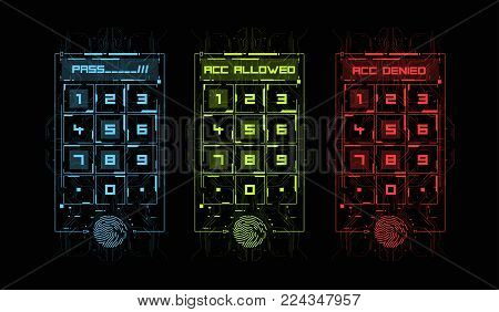 Finger Scan in Futuristic Style. Biometric id with Futuristic HUD Interface. Fingerprint Scanning Technology Concept Illustration. Control panel with password.