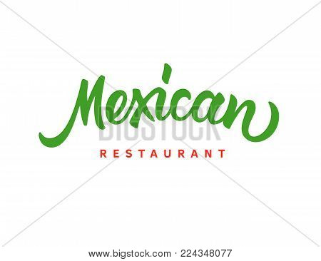 Mexican restaurant vector text logo. Handwritten brush lettering in freehand style. Mexican food, cuisine restaurant logotype