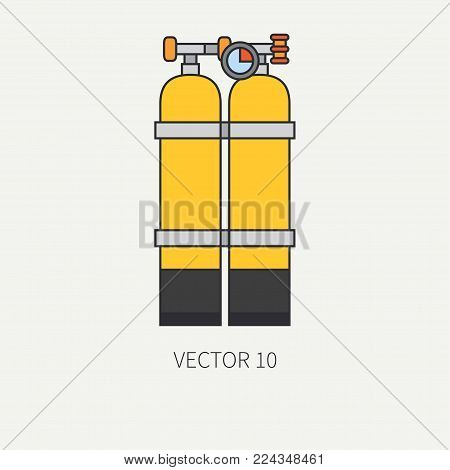 Line flat color vector diver underwater equipment icon oxygen balloon. Retro style. Ocean, sea beach. Snorkeling. Summer adventure vacation. Scuba aqualung. Illustration, element for design, wallpaper
