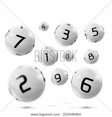 Vector lotto white balls with numbers. Falling lottery bingo gambling spheres. Snooker, billiard sport game realistic isolated illustration with reflections on white background.