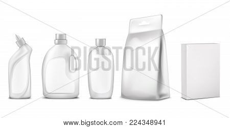 Vector illustration of packaging, package design. White bottle, sachet, box, container for cleaning agent, liquid laundry detergent Concept for advertising promotion, mock up