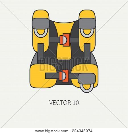 Line flat color vector diver underwater equipment icon oxygen balloon jacket. Retro style. Ocean deep, sea beach. Summer adventure vacation. Scuba aqualung. Illustration, element for design, wallpaper