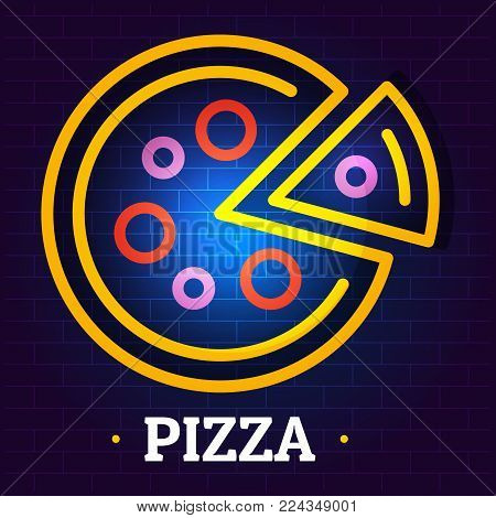 Round pizza logo. Flat illustration of round pizza vector logo for web