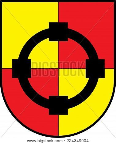 Coat of arms of Olsberg is a town in the Hochsauerland district, in North Rhine-Westphalia, Germany. Vector illustration