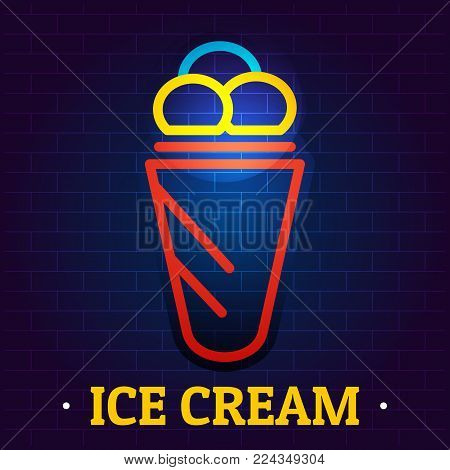 Ice cream signboard logo. Flat illustration of ice cream signboard vector logo for web