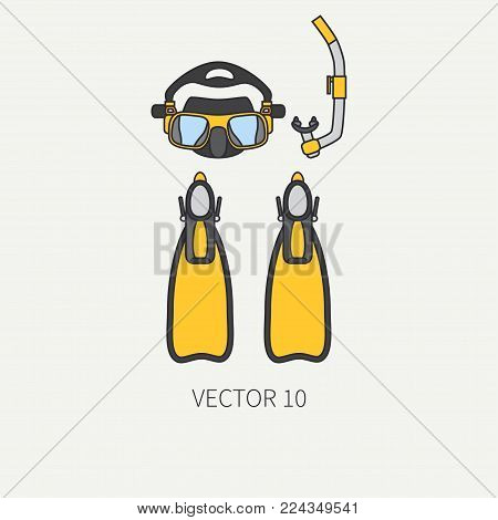 Line flat color vector diver underwater equipment icon diver mask, snorkel, flippers. Retro style. Ocean deep, sea beach. Summer adventure. Scuba aqualung. Illustration element for design, wallpaper.