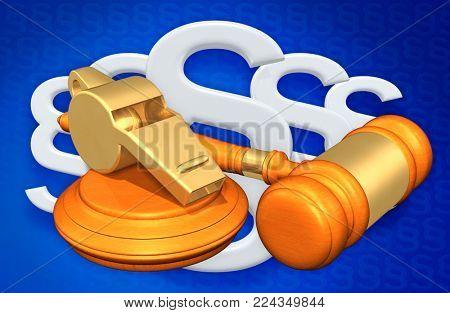 Whistle Blower Legal Concept 3D Illustration