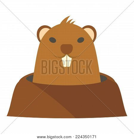 Groundhog in hole icon. Flat illustration of groundhog in hole vector icon for web