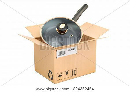 Frypan inside parcel, delivery concept. 3D rendering isolated on white background
