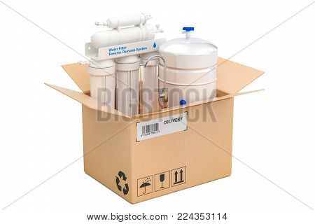 Reverse osmosis system inside parcel, delivery concept. 3D rendering isolated on white background