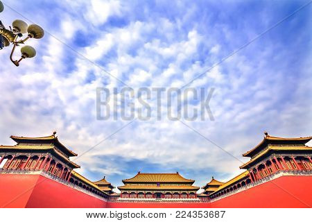 BEIJING, CHINA - NOVEMBER 13, 2017 Meridian Gate Gugong Forbidden City Palace Wall Beijing China. Emperor's Palace Built in the 1600s in the Ming Dynasty