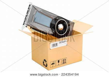 Computer video card GPU inside parcel, delivery concept. 3D rendering isolated on white background