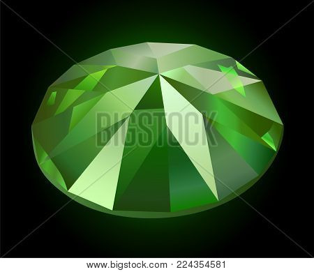 Beautiful faceted shining green demantoid on dark background
